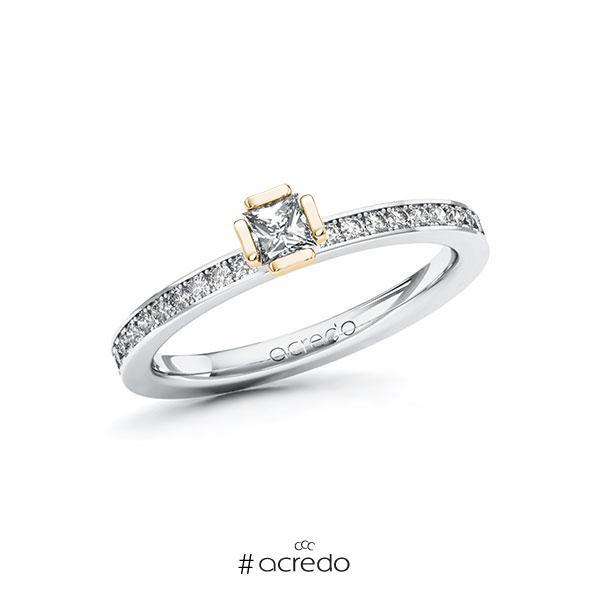Verlobungsring in Weißgold 585 Roségold 585 mit zus. 0,4 ct. Prinzess-Diamant tw, si von acredo