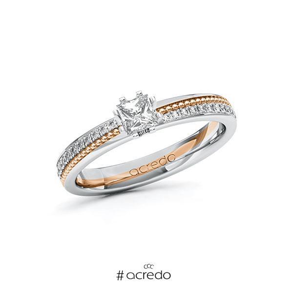 Verlobungsring in Weißgold 585 Rotgold 585 mit 0,3 ct. + zus. 0,296 ct. Prinzess-Diamant tw, vs tw, si von acredo