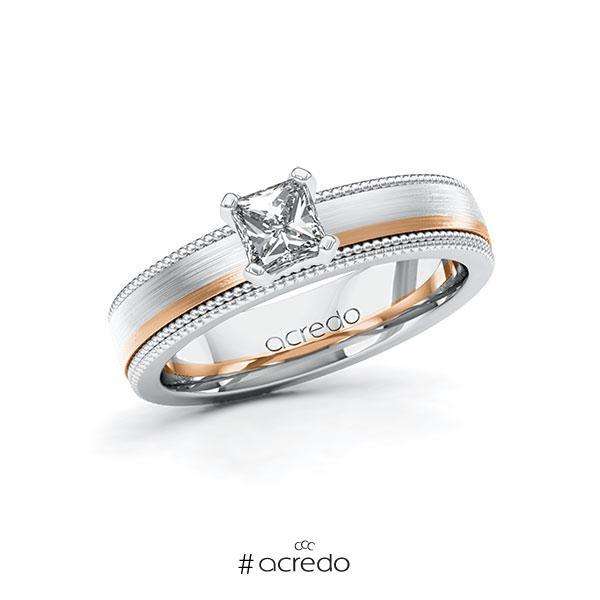 Verlobungsring in Weißgold 585 Rotgold 585 mit 0,5 ct. Brillant tw, vs von acredo