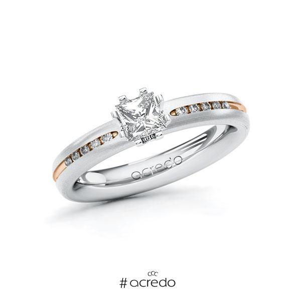 Verlobungsring in Weißgold 585 Rotgold 585 mit 0,5 ct. + zus. 0,08 ct. Prinzess-Diamant tw, vs tw, si von acredo