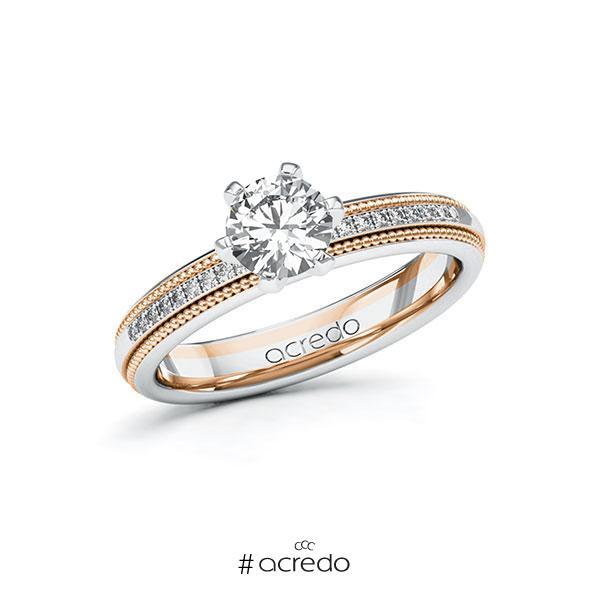 Verlobungsring in Weißgold 585 Rotgold 585 mit 0,7 ct. + zus. 0,09 ct. Brillant tw, si von acredo