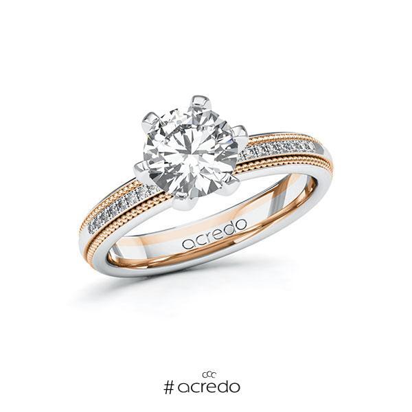 Verlobungsring in Weißgold 585 Rotgold 585 mit 1,5 ct. + zus. 0,09 ct. Brillant tw, si von acredo
