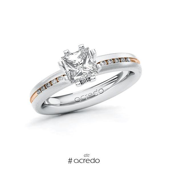 Verlobungsring in Weißgold 585 Rotgold 585 mit 1 ct. + zus. 0,08 ct. Prinzess-Diamant tw, vs tw, si von acredo
