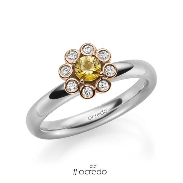 Verlobungsring in Weißgold 585 Rotgold 585 mit zus. 0,37 ct. Brillant Saphir Gelb (A 8) tw, si von acredo