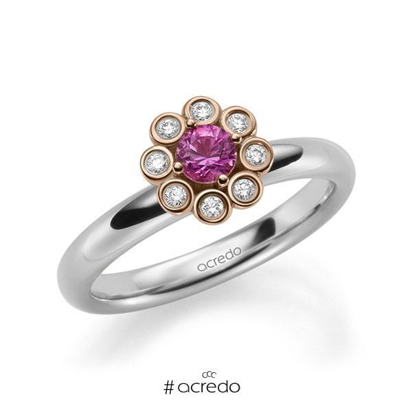 Verlobungsring in Weißgold 585 Rotgold 585 mit zus. 0,37 ct. Brillant Saphir Pink (A 10) tw, si von acredo