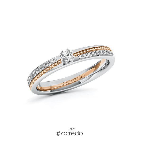 Verlobungsring in Weißgold 585 Rotgold 585 mit zus. 0,396 ct. Prinzess-Diamant tw, vs tw, si von acredo
