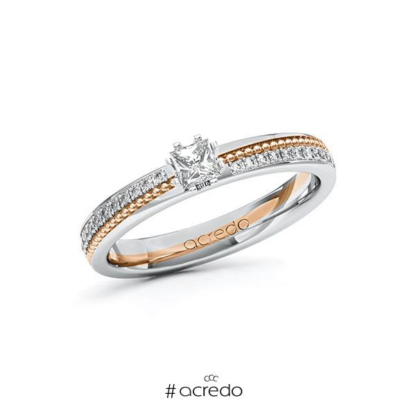 Verlobungsring in Weißgold 585 Rotgold 585 mit zus. 0,496 ct. Prinzess-Diamant tw, vs tw, si von acredo