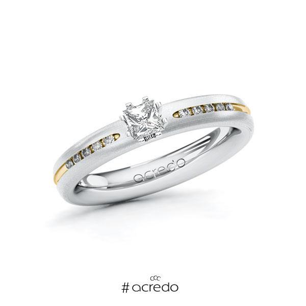 Verlobungsring in Weißgold 750 Gelbgold 750 mit zus. 0,33 ct. Prinzess-Diamant tw, si von acredo