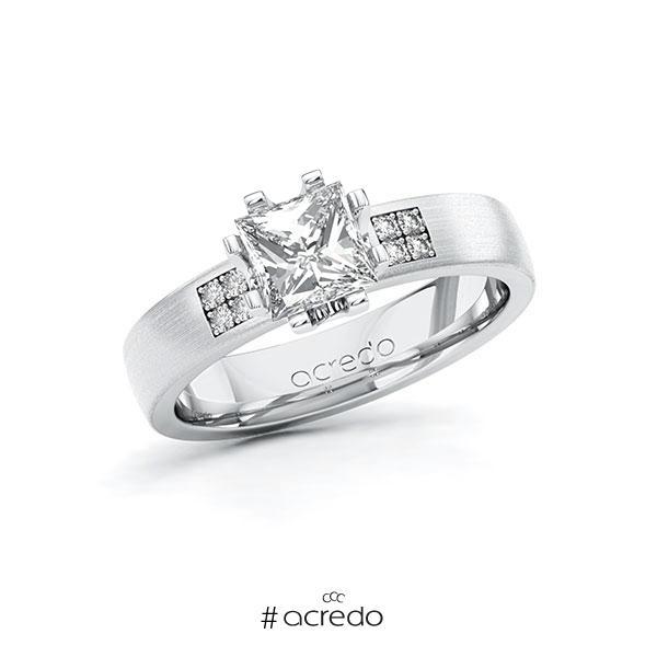 Verlobungsring in Weißgold 750 mit 1 ct. + zus. 0,064 ct. Prinzess-Diamant tw, vs tw, si von acredo