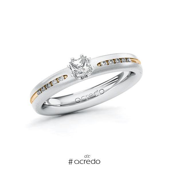 Verlobungsring in Weißgold 750 Roségold 750 mit zus. 0,33 ct. Prinzess-Diamant tw, si von acredo
