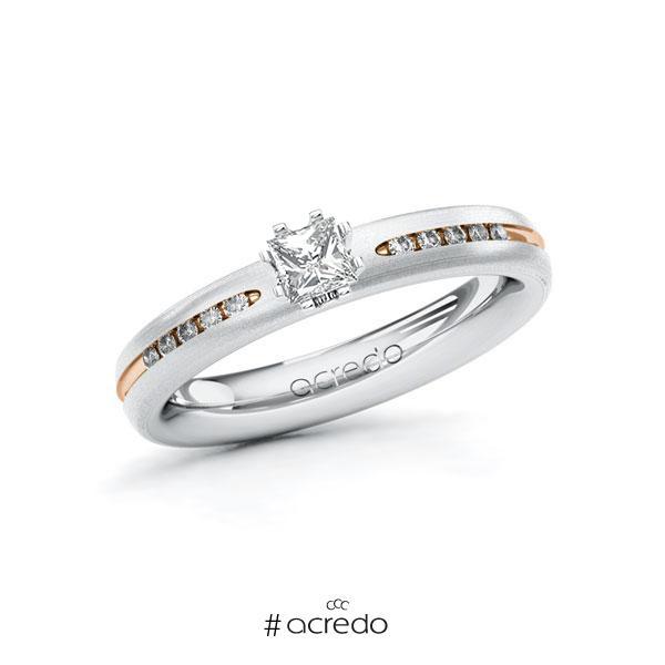 Verlobungsring in Weißgold 750 Rotgold 750 mit zus. 0,33 ct. Prinzess-Diamant tw, si von acredo