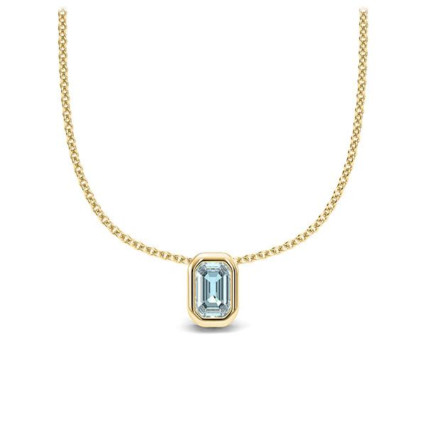 Collier in geelgoud 14 kt. 1 Steen 4,7 x 3 mm Emerald - Cut Aquamarijn van Eternal Touch - E-11IP8C-GG5-1TPPIGZ