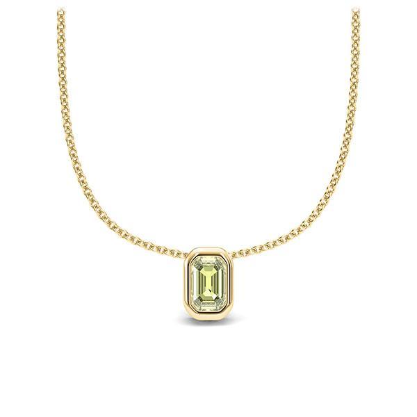 Collier in geelgoud 14 kt. 1 Steen 4,7 x 3 mm Emerald - Cut Peridot van Eternal Touch - E-11IPLQ-GG5-1TPPIIZ