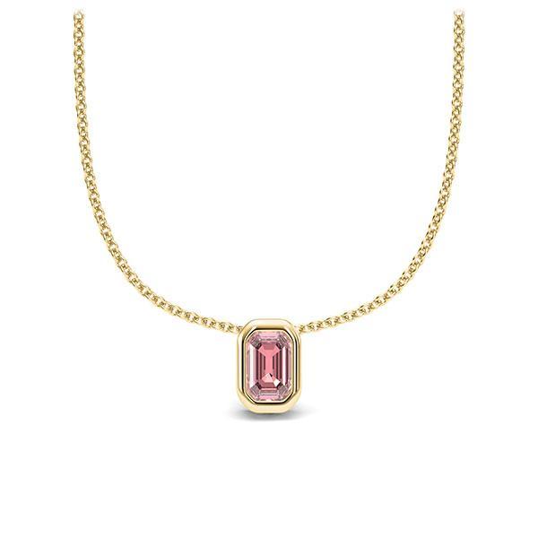 Collier in geelgoud 14 kt. 1 Steen 4,7 x 3 mm Emerald - Cut Roze Toermalijn van Eternal Touch - E-11IPLY-GG5-1TPPIJZ