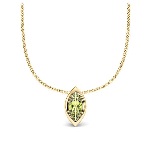 Collier in geelgoud 14 kt. 1 Steen 7,5 x 3,5 mm Navette - Cut Peridot van Eternal Touch - E-11IPNG-GG5-1TQ6FQZ