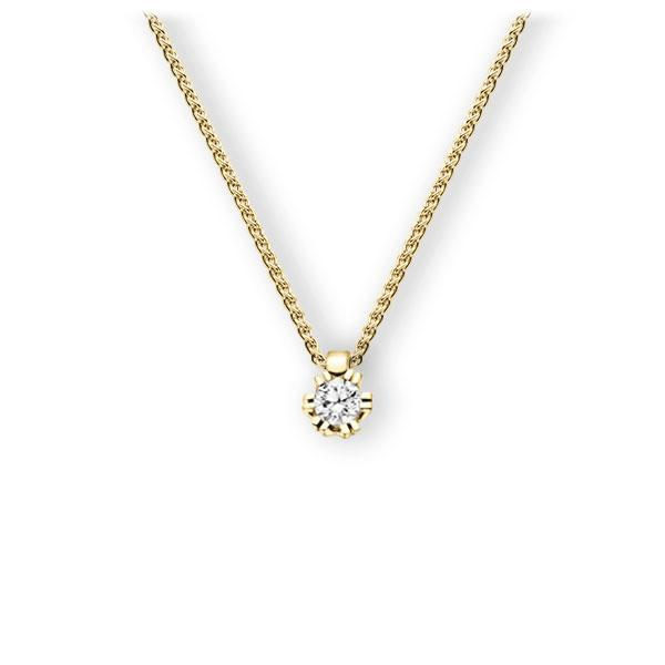 Collier in geelgoud 14 kt. met 0,3 ct. Briljant tw,vs van Eternal Touch - E-3WIR2-GG5-1IV54LZ