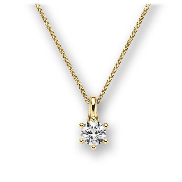 Collier in geelgoud 14 kt. met 0,4 ct. Briljant tw,vs van acredo - A-10L8IS-GG5-1IV561Z