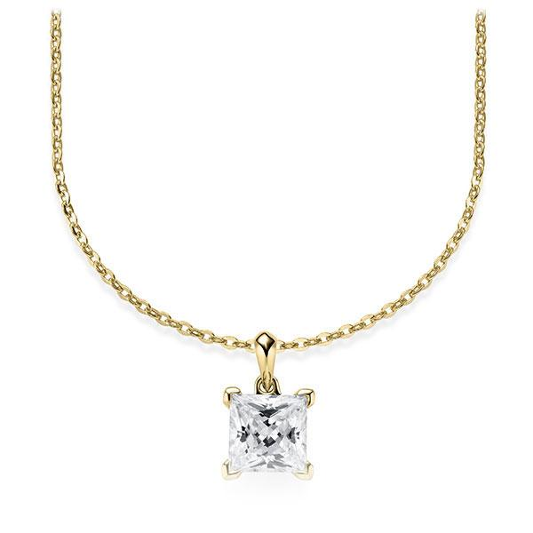 Collier in geelgoud 14 kt. met 1 ct. Princess-Diamant tw,vs van Steinberg - Q-ZLF0U-GG5-V9BCLZ