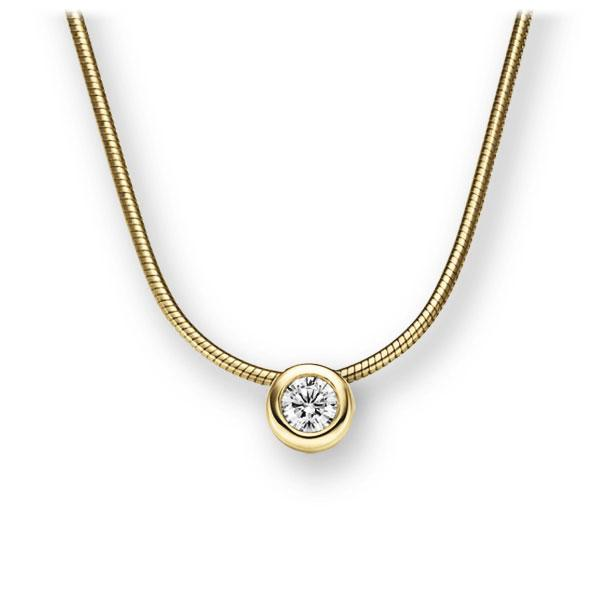 Collier in geelgoud 14 kt. met in totaal 0,15 ct. Briljant tw,vs van Eternal Touch - E-2TWXU-GG5-1Z850Z