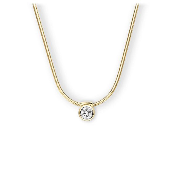 Collier in geelgoud 14 kt. met in totaal 0,15 ct. Briljant tw,vs van Eternal Touch - E-3VB70-GG5-1Z850Z