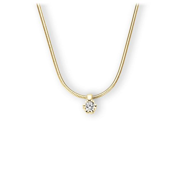Collier in geelgoud 14 kt. met in totaal 0,15 ct. Briljant tw,vs van Eternal Touch - E-3WIQA-GG5-1Z84ZZ