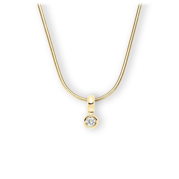 Collier in geelgoud 14 kt. met in totaal 0,15 ct. Briljant tw,vs van Eternal Touch - E-3WIXS-GG5-1Z850Z