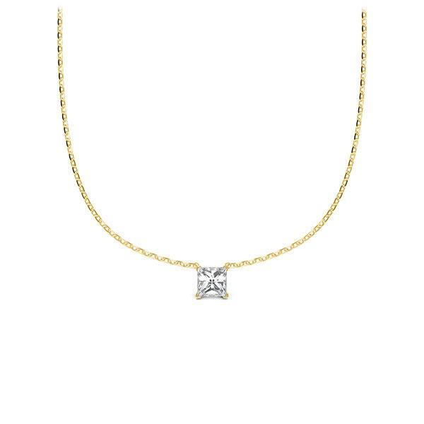 Collier in geelgoud 14 kt. met in totaal 0,1 ct. Princess-Diamant tw/si van Steinberg - Q-ZLD9C-GG5-1Q9JFJZ