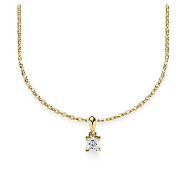 Collier in geelgoud 14 kt. met in totaal 0,1 ct. Princess-Diamant tw/si van Steinberg - Q-ZLF0E-GG5-1Q9JFJZ
