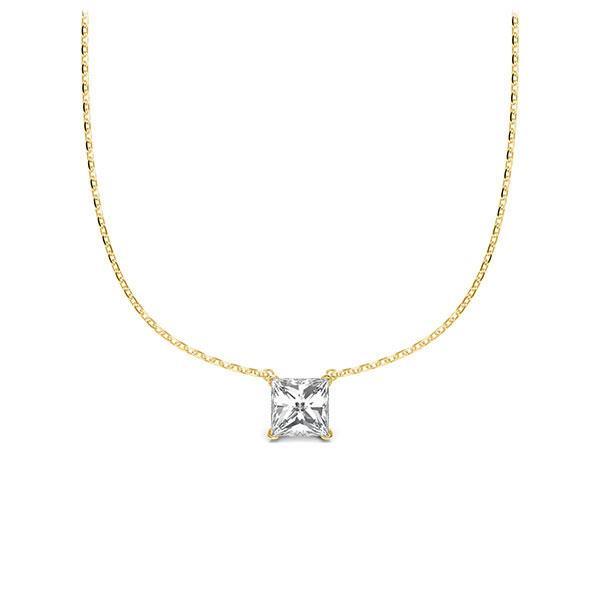 Collier in geelgoud 14 kt. met in totaal 0,25 ct. Princess-Diamant tw/si van Steinberg - Q-ZLDAD-GG5-1A2TJBZ