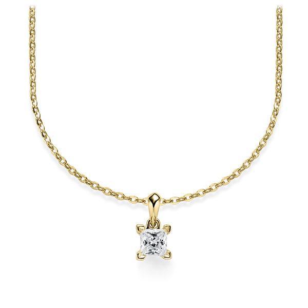 Collier in geelgoud 14 kt. met in totaal 0,25 ct. Princess-Diamant tw/si van Steinberg - Q-ZLF0I-GG5-1A2TJBZ