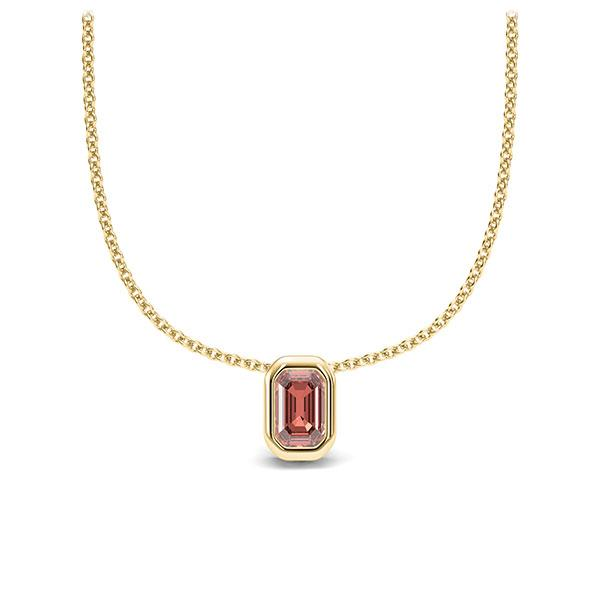 Collier in Gelbgold 585 1 Stein 4,7 x 3 mm Emerald - Cut Granat von 123gold - E-11IP8L-GG5-1TPPIHZ