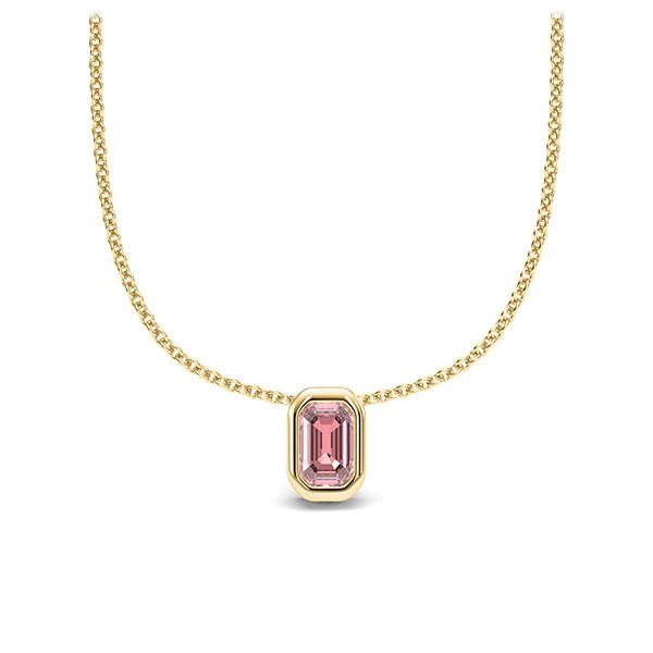 Collier in Gelbgold 585 1 Stein 4,7 x 3 mm Emerald - Cut Rosa Turmalin von 123gold - E-11IPLY-GG5-1TPPIJZ