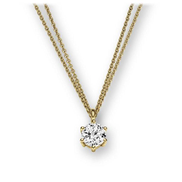 Collier in Gelbgold 585 mit 0,3 ct. Brillant tw, vs von 123gold - E-2U6NJ-GG5-1IV54LZ