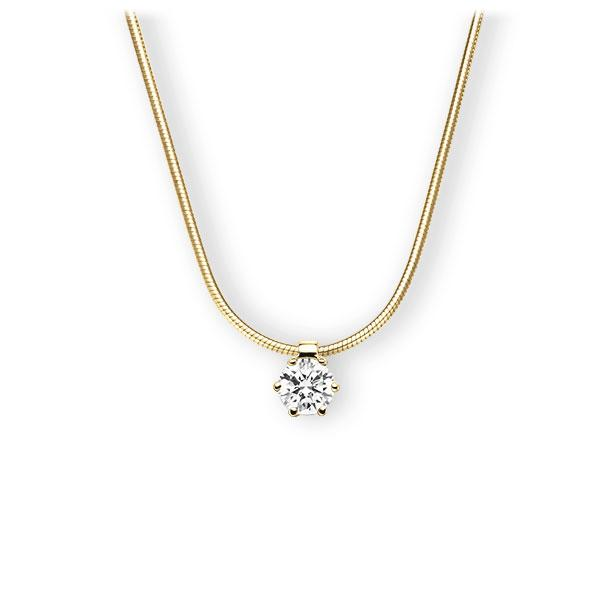 Collier in Gelbgold 585 mit 0,4 ct. Brillant tw, vs von 123gold - E-3VBIJ-GG5-1IV561Z