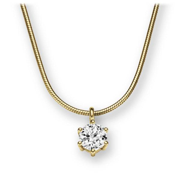 Collier in Gelbgold 585 mit 0,5 ct. Brillant tw, vs von 123gold - E-2U6JN-GG5-1IV54BZ