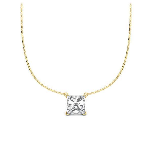 Collier in Gelbgold 585 mit 0,5 ct. Prinzess-Diamant tw, vs von Steinberg - Q-ZLEZ5-GG5-UZDHGZ