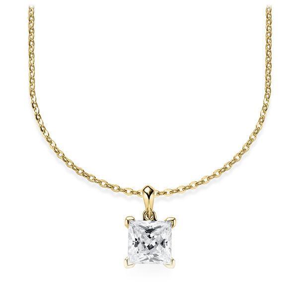 Collier in Gelbgold 585 mit 1 ct. Prinzess-Diamant tw, vs von Steinberg - Q-ZLF0U-GG5-V9BCLZ