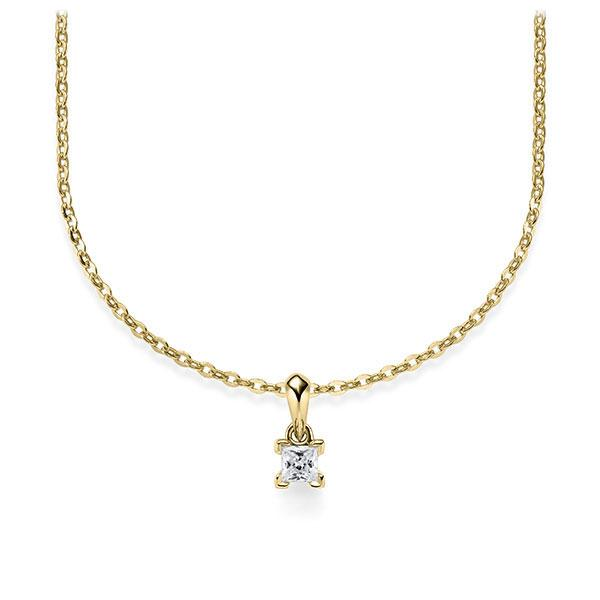 Collier in Gelbgold 585 mit zus. 0,1 ct. Prinzess-Diamant tw, si von Steinberg - Q-ZLF0E-GG5-1Q9JFJZ