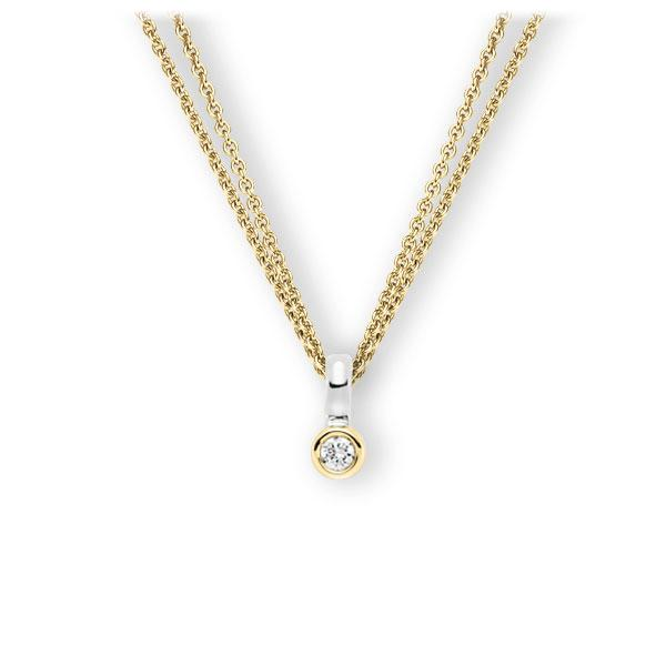 Collier in Gelbgold 585 Weißgold 585 mit zus. 0,1 ct. Brillant tw, vs von 123gold - E-3WIW7-GW5-1Z8K4Z