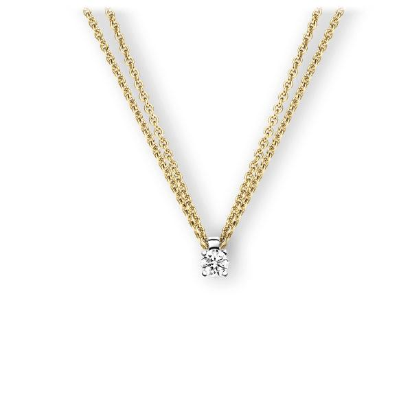 Collier in Gelbgold 585 Weißgold 585 mit zus. 0,2 ct. Brillant tw, vs von 123gold - E-3WI86-GW5-1TT9UZ