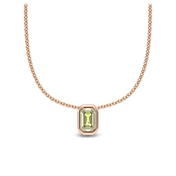 Collier in roodgoud 14 kt. 1 Steen 4,7 x 3 mm Emerald - Cut Peridot van Eternal Touch - E-11IPMC-RR5-1TPPIIZ