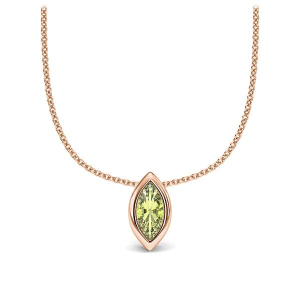 Collier in roodgoud 14 kt. 1 Steen 7,5 x 3,5 mm Navette - Cut Peridot van Eternal Touch - E-11IPP8-RR5-1TQ6FQZ