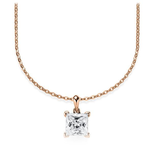 Collier in roodgoud 14 kt. met 1 ct. Princess-Diamant tw,vs van Steinberg - Q-ZLF0V-RR5-V9BCLZ