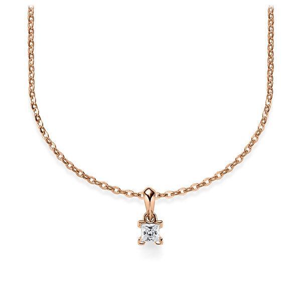 Collier in roodgoud 14 kt. met in totaal 0,1 ct. Princess-Diamant tw/si van Steinberg - Q-ZLF0F-RR5-1Q9JFJZ