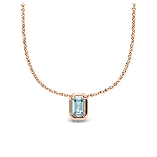 Collier in Rotgold 585 1 Stein 4,7 x 3 mm Emerald - Cut Aquamarin von 123gold - E-11IPM5-RR5-1TPPIGZ