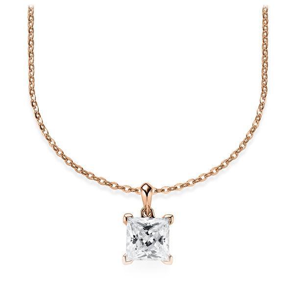 Collier in Rotgold 585 mit 1 ct. Prinzess-Diamant tw, vs von Steinberg - Q-ZLF0V-RR5-V9BCLZ