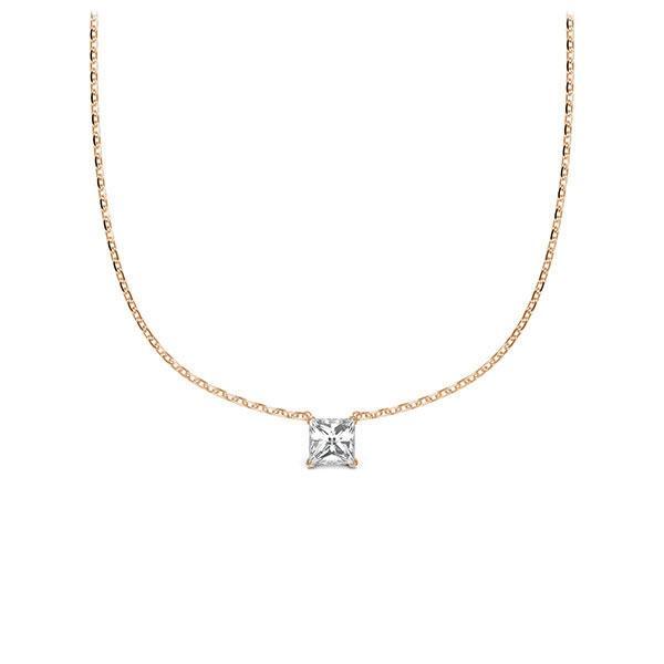 Collier in Rotgold 585 mit zus. 0,1 ct. Prinzess-Diamant tw, si von Steinberg - Q-ZLD9K-RR5-1Q9JFJZ