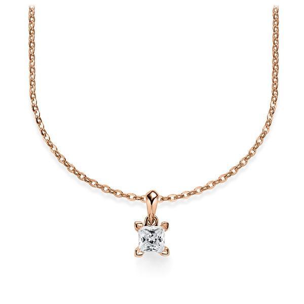 Collier in Rotgold 585 mit zus. 0,25 ct. Prinzess-Diamant tw, si von Steinberg - Q-ZLF0K-RR5-1A2TJBZ