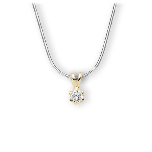 Collier in Weißgold 585 Gelbgold 585 mit 0,4 ct. Brillant tw, vs von 123gold - E-3WJXI-WG5-1IV561Z