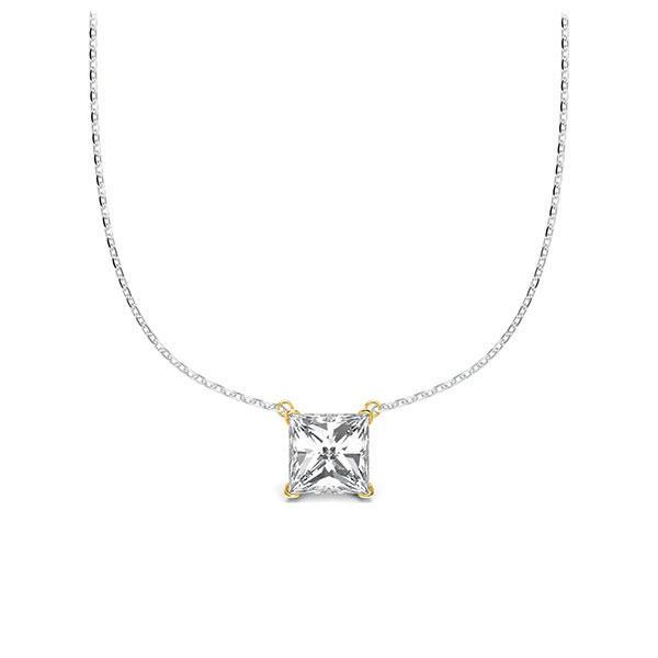 Collier in Weißgold 585 Gelbgold 585 mit 0,5 ct. Prinzess-Diamant tw, vs von Steinberg - Q-ZLEZ7-WG5-UZDHGZ